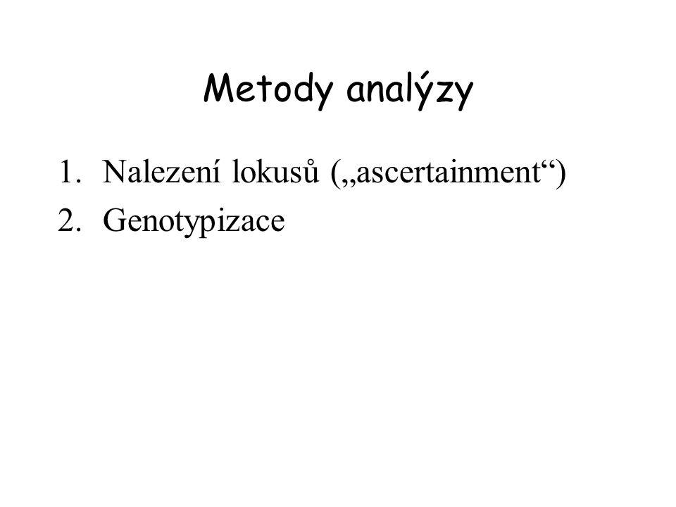 Nalezení SNPs (1) CATS loci = comparative anchor tagged site loci (= cross amplification) (2) Genomic library = genome restriction + cloning Next-generation sequencing – sekvenování genomu více jedinců a hledání polymorfismů