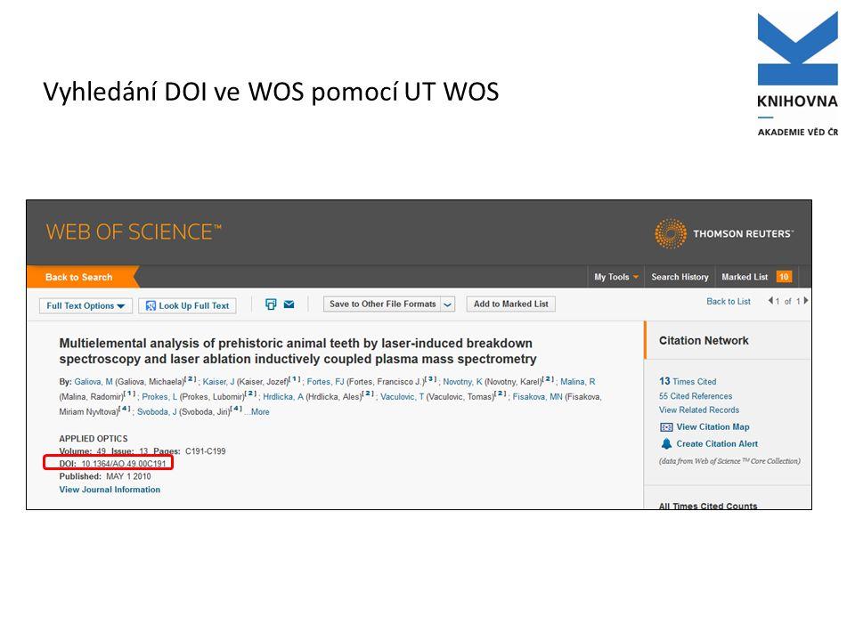 Vyhledání DOI ve WOS pomocí UT WOS