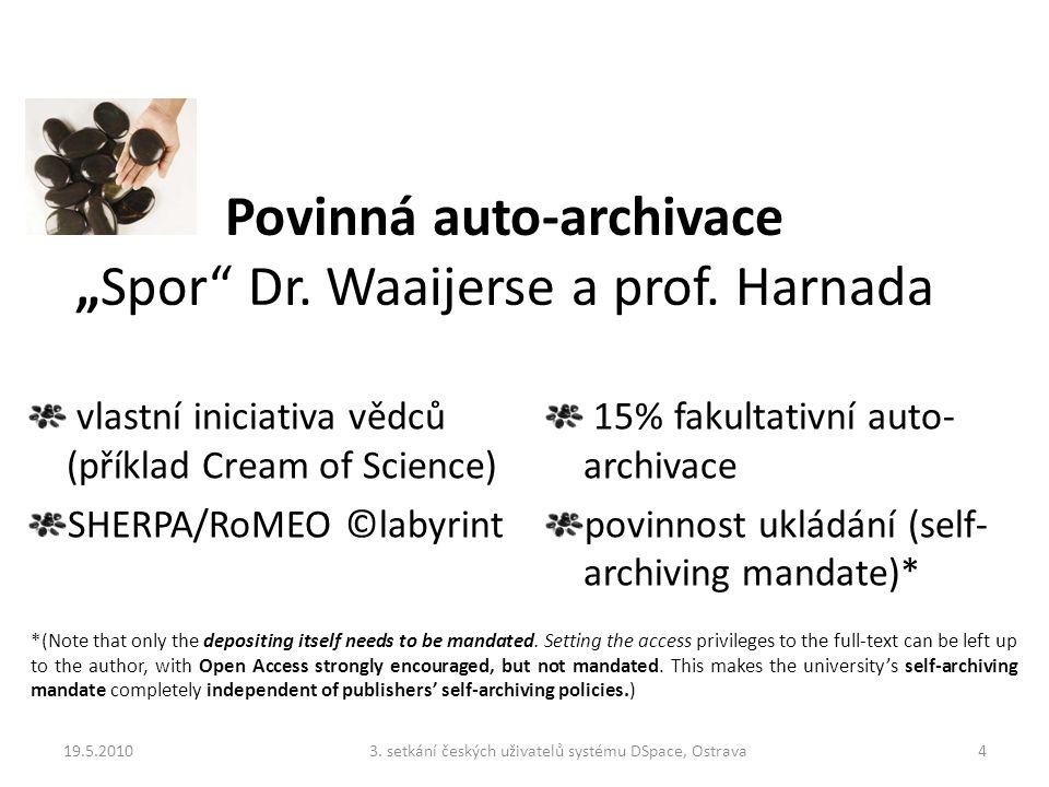 "Povinná auto-archivace ""Spor Dr. Waaijerse a prof."