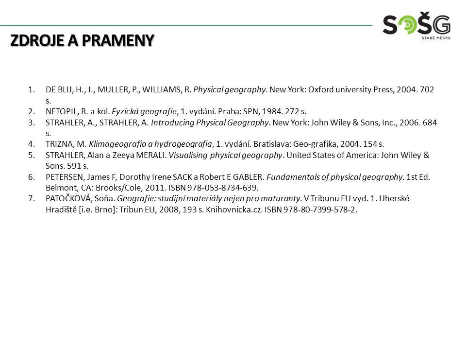 ZDROJE A PRAMENY 1.DE BLIJ, H., J., MULLER, P., WILLIAMS, R.
