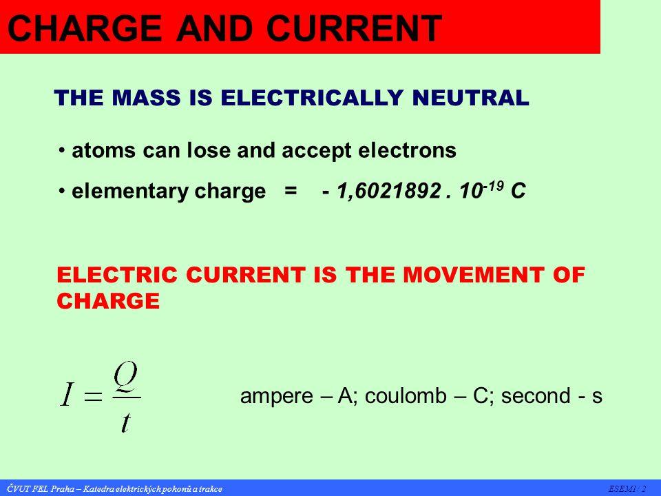 ČVUT FEL Praha – Katedra elektrických pohonů a trakce ESEM1/ 3 DIRECT CURRENT - DC CHARACTERISTICS: sense of current flow is constant CONVENTION: positive sense is from + to - Instantaneous value i(t i ) Mean value I