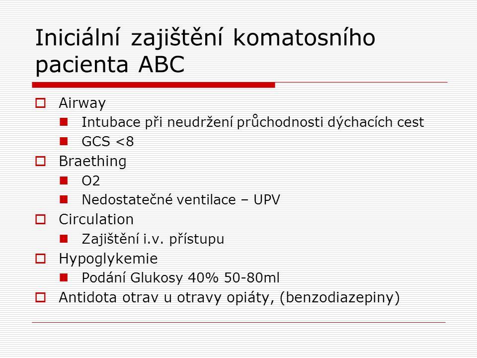 Iniciální zajištění komatosního pacienta ABC  Airway Intubace při neudržení průchodnosti dýchacích cest GCS <8  Braething O2 Nedostatečné ventilace