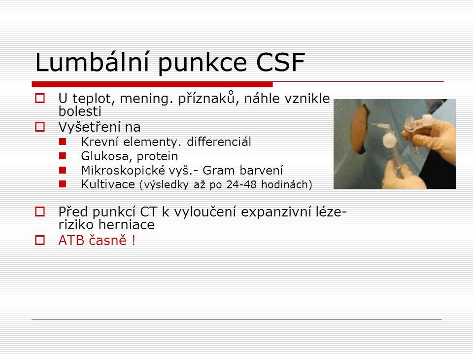 Lumbální punkce CSF  U teplot, mening. příznaků, náhle vznikle bolesti  Vyšetření na Krevní elementy. differenciál Glukosa, protein Mikroskopické vy