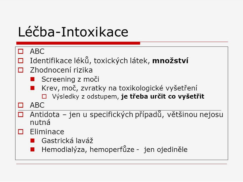 Léčba-Intoxikace  ABC  Identifikace léků, toxických látek, množství  Zhodnocení rizika Screening z moči Krev, moč, zvratky na toxikologické vyšetře