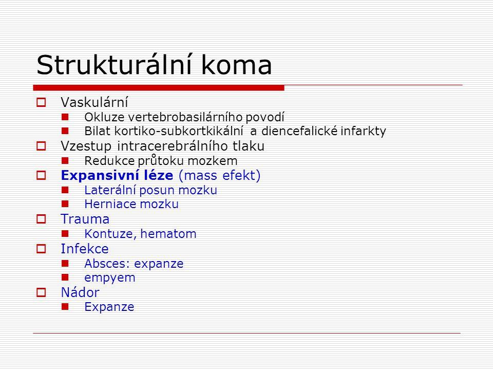 Nestrukturální koma  Anoxie mozku  Toxické postižení Ethanol, předávkování Nežádoucí účinky léků  Neuroleptický maligní syndrom  Reyův syndrom  Centrální anticholinergní syndrom  Serotoninový syndrom  Elektrolytové a metabolické dysbalance Hypo-hyeprglykemie Hypo –hyper: Na, Ca, hypo : Mg, P Uremie Jaterní selhání  SEPSE  Infekce: meningitis, encephalitis  Epilepsie  Hypotermie, hypertermie  Endokrinní Addison, hypothyreosa  Deficit thiaminu, Wernick  Další: vaskulitis, trombotická trombocytopenická purpura
