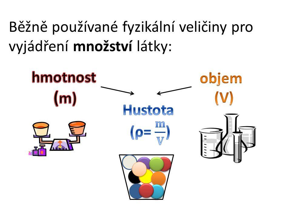 Běžně používané fyzikální veličiny pro vyjádření množství látky: