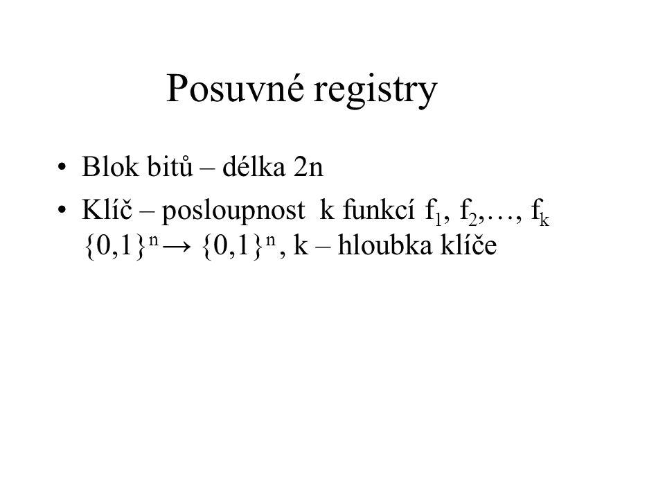 Posuvné registry, šifrování (m 0, m 1 ) = X m i+1 = m i-1 +f i (m i ) Y = (m k,m k+1 )