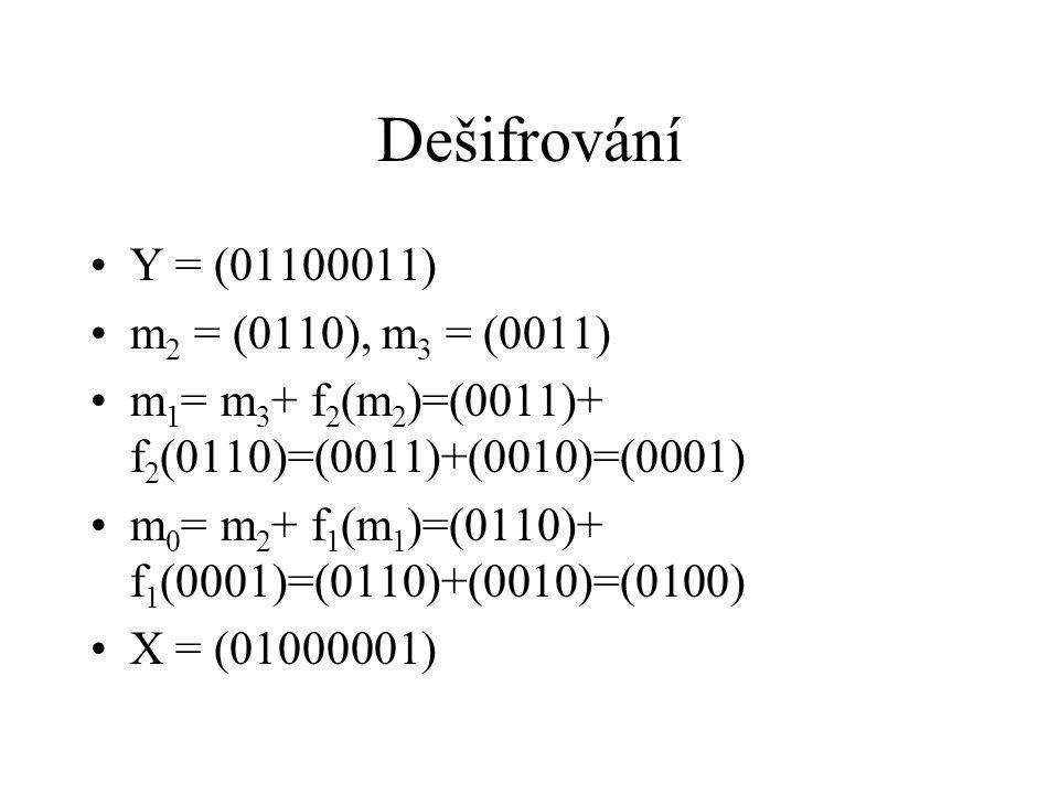 Počet klíčů Počet funkcí {0,1} n → {0,1} n je F = (2 n ) 2 n Počet klíčů je F k V našem případě n=4, k=2, 2 n =16, F=16 16 =18446744073709600000 Počet klíčů 18446744073709600000 2 = 340282366920938000000000000000000000000