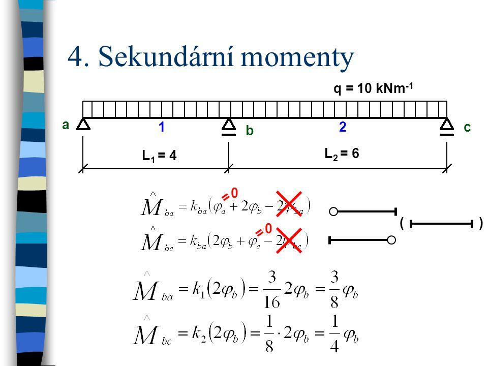4. Sekundární momenty q = 10 kNm -1 a b c L 1 = 4 L 2 = 6 12 ( ) 0 = 0 =