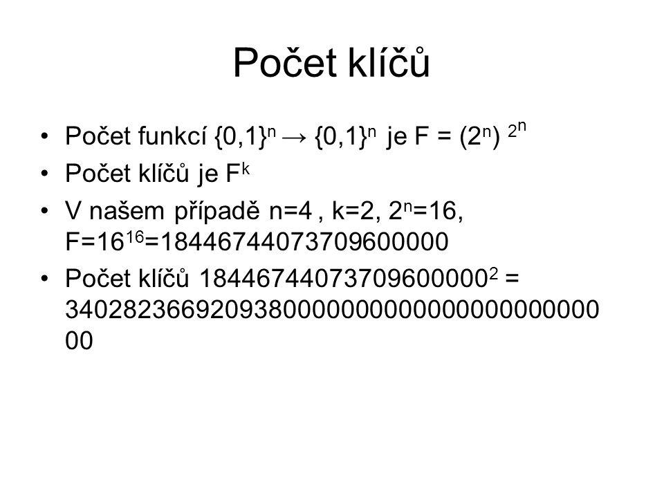 Počet klíčů Počet funkcí {0,1} n → {0,1} n je F = (2 n ) 2 n Počet klíčů je F k V našem případě n=4, k=2, 2 n =16, F=16 16 =18446744073709600000 Počet klíčů 18446744073709600000 2 = 3402823669209380000000000000000000000 00