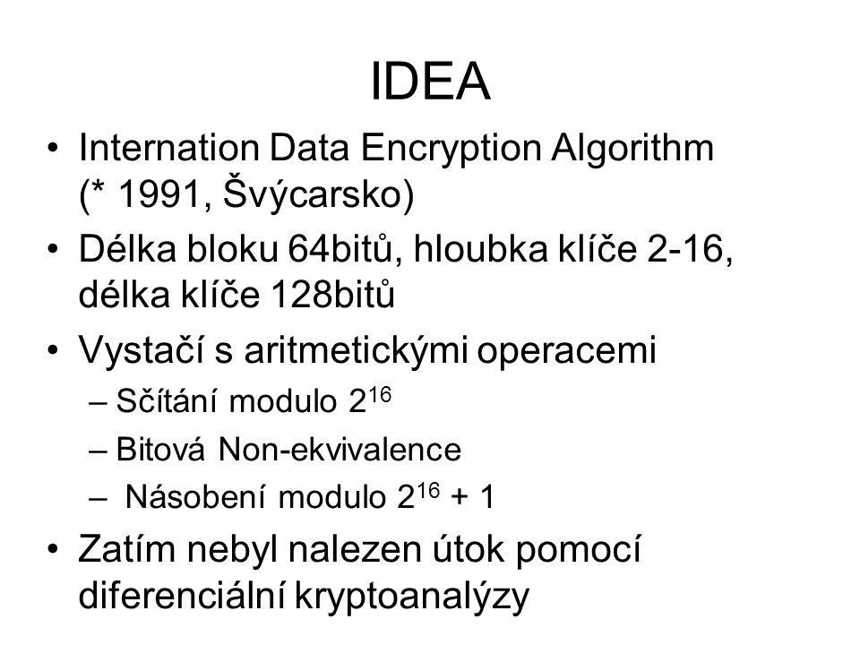 IDEA Internation Data Encryption Algorithm (* 1991, Švýcarsko) Délka bloku 64bitů, hloubka klíče 2-16, délka klíče 128bitů Vystačí s aritmetickými operacemi –Sčítání modulo 2 16 –Bitová Non-ekvivalence – Násobení modulo 2 16 + 1 Zatím nebyl nalezen útok pomocí diferenciální kryptoanalýzy