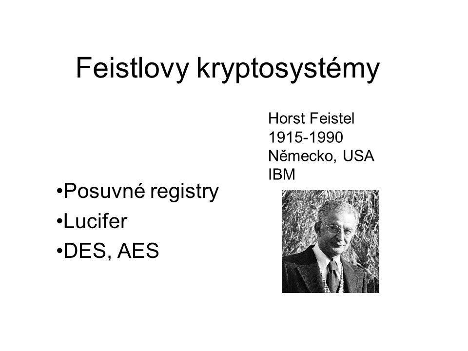 Feistlovy kryptosystémy Posuvné registry Lucifer DES, AES Horst Feistel 1915-1990 Německo, USA IBM