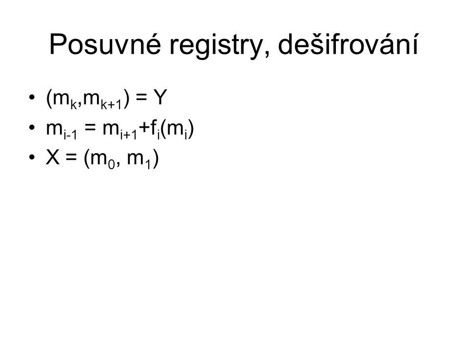 Posuvné registry, dešifrování (m k,m k+1 ) = Y m i-1 = m i+1 +f i (m i ) X = (m 0, m 1 )