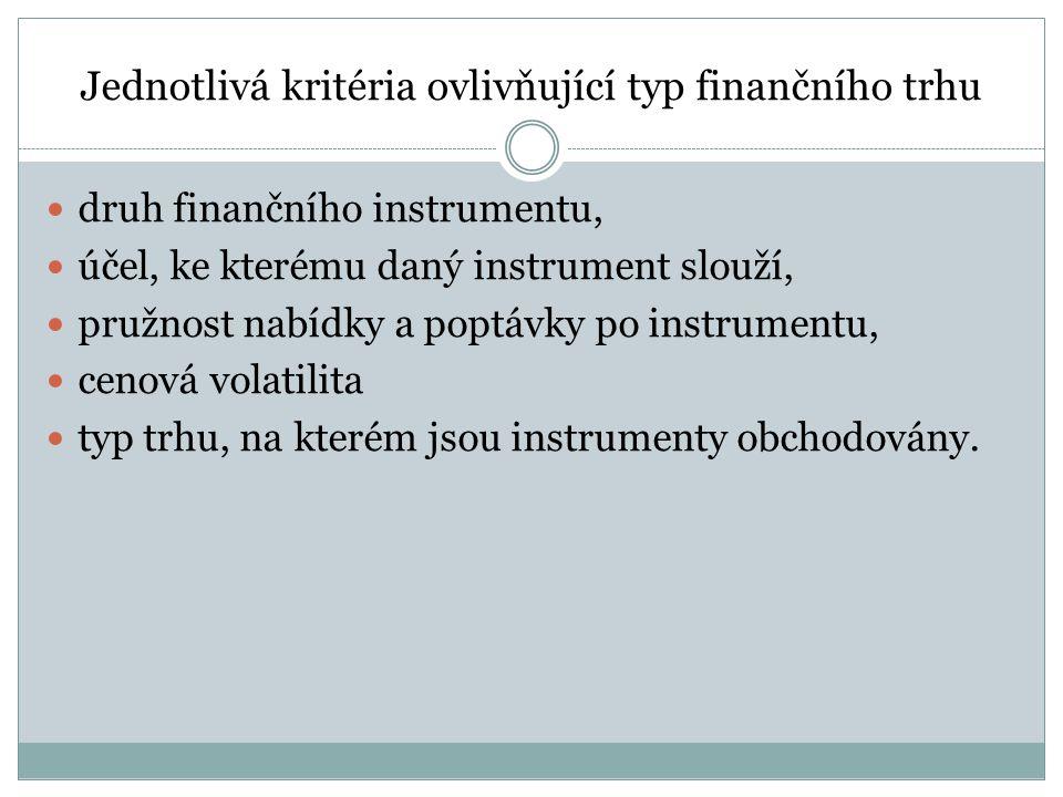 Jednotlivá kritéria ovlivňující typ finančního trhu druh finančního instrumentu, účel, ke kterému daný instrument slouží, pružnost nabídky a poptávky po instrumentu, cenová volatilita typ trhu, na kterém jsou instrumenty obchodovány.