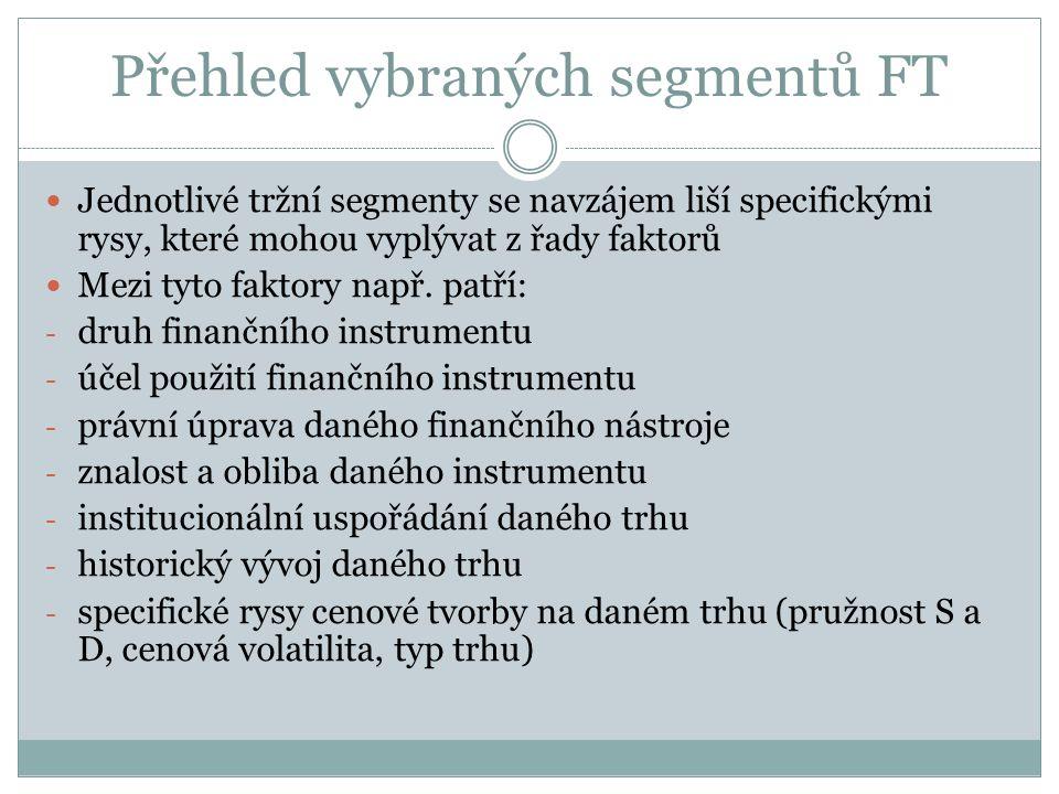 Přehled vybraných segmentů FT Jednotlivé tržní segmenty se navzájem liší specifickými rysy, které mohou vyplývat z řady faktorů Mezi tyto faktory např.