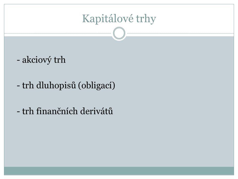 - akciový trh - trh dluhopisů (obligací) - trh finančních derivátů Kapitálové trhy