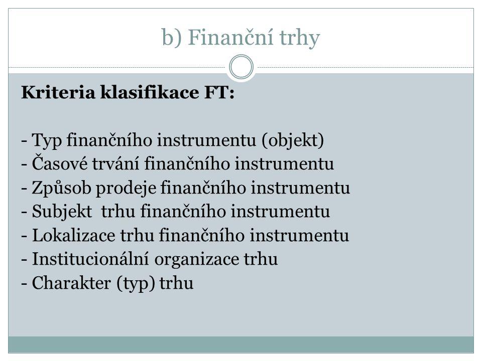 b) Finanční trhy Kriteria klasifikace FT: - Typ finančního instrumentu (objekt) - Časové trvání finančního instrumentu - Způsob prodeje finančního instrumentu - Subjekt trhu finančního instrumentu - Lokalizace trhu finančního instrumentu - Institucionální organizace trhu - Charakter (typ) trhu