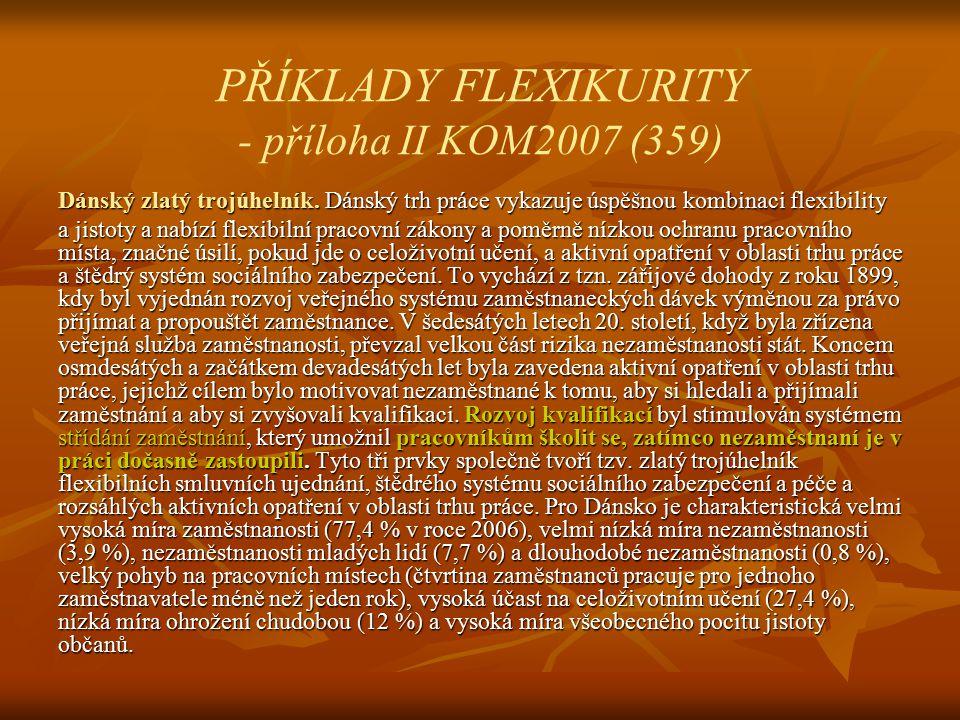 PŘÍKLADY FLEXIKURITY - příloha II KOM2007 (359) Dánský zlatý trojúhelník.