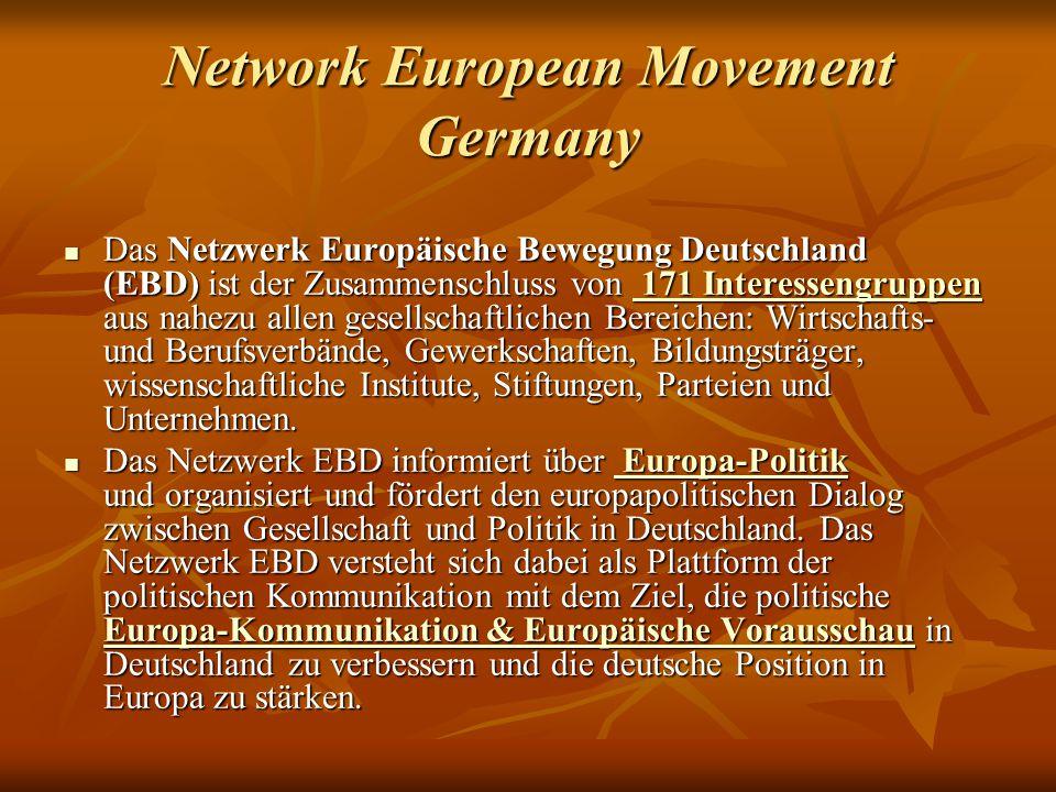 Network European Movement Germany Das Netzwerk Europäische Bewegung Deutschland (EBD) ist der Zusammenschluss von 171 Interessengruppen aus nahezu allen gesellschaftlichen Bereichen: Wirtschafts- und Berufsverbände, Gewerkschaften, Bildungsträger, wissenschaftliche Institute, Stiftungen, Parteien und Unternehmen.