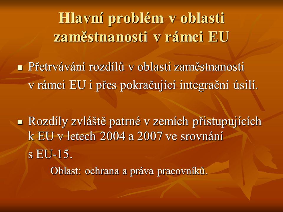 Hlavní problém v oblasti zaměstnanosti v rámci EU Přetrvávání rozdílů v oblasti zaměstnanosti Přetrvávání rozdílů v oblasti zaměstnanosti v rámci EU i přes pokračující integrační úsilí.