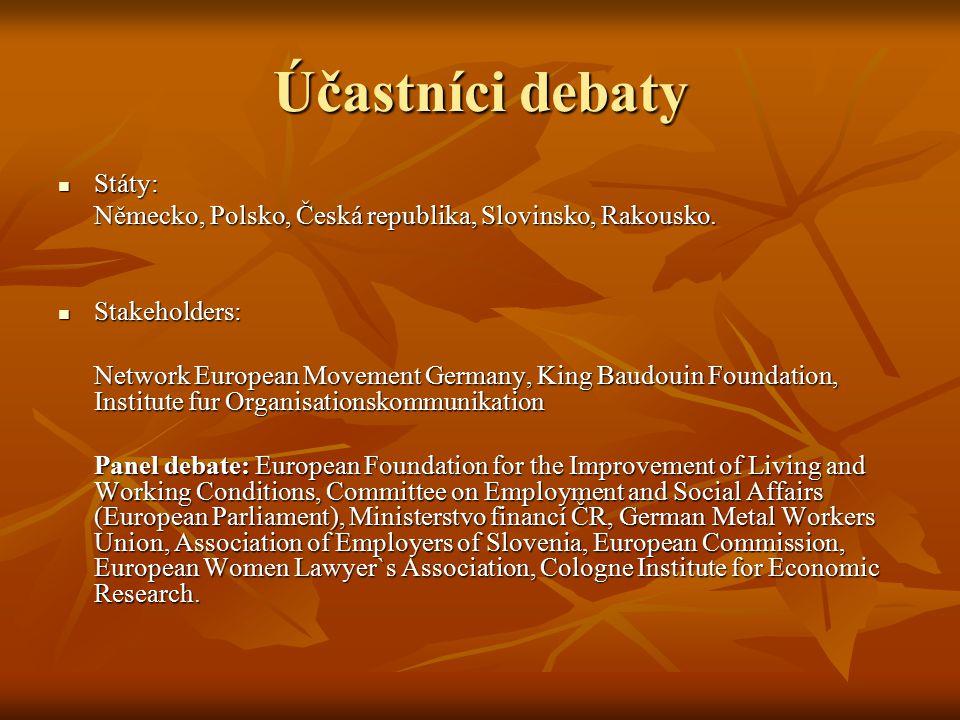 Účastníci debaty Státy: Státy: Německo, Polsko, Česká republika, Slovinsko, Rakousko.