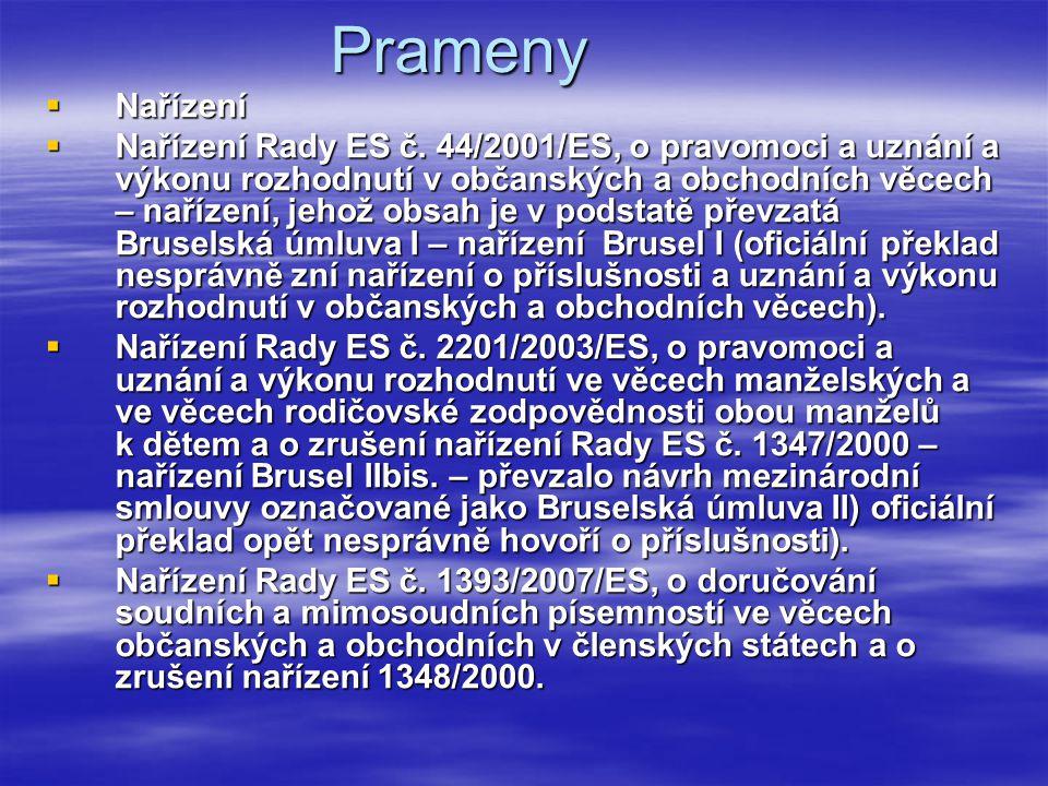 Prameny  Nařízení  Nařízení Rady ES č. 44/2001/ES, o pravomoci a uznání a výkonu rozhodnutí v občanských a obchodních věcech – nařízení, jehož obsah