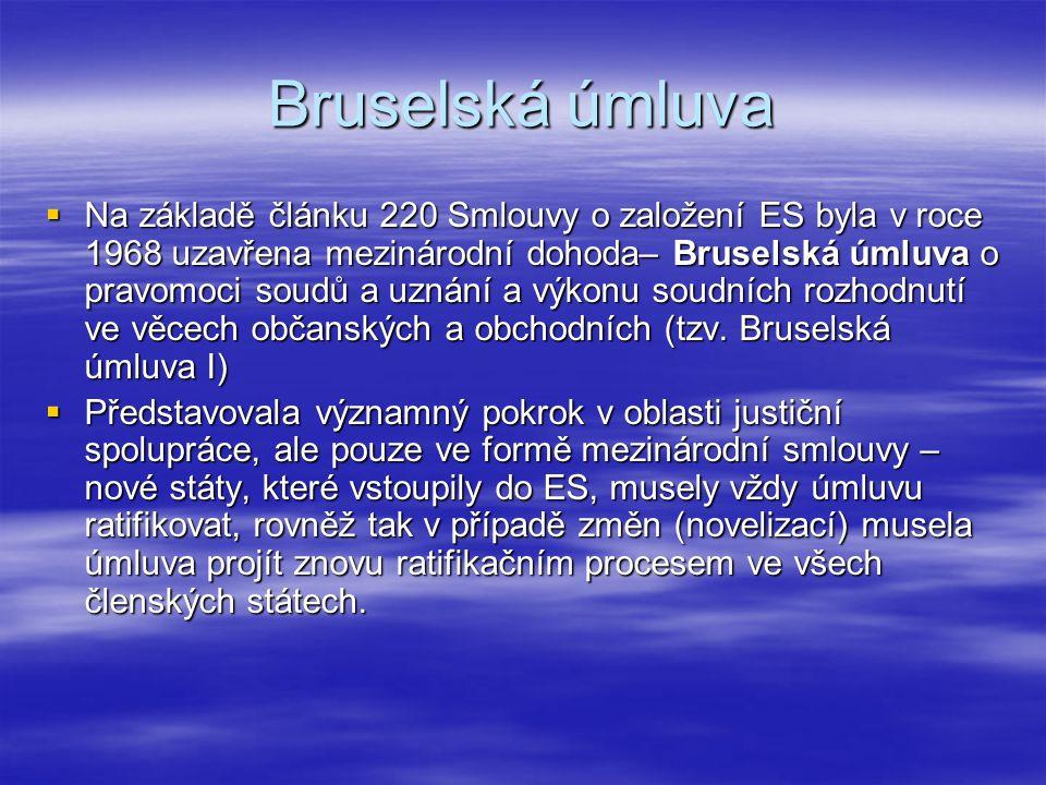 Bruselská úmluva  Na základě článku 220 Smlouvy o založení ES byla v roce 1968 uzavřena mezinárodní dohoda– Bruselská úmluva o pravomoci soudů a uzná