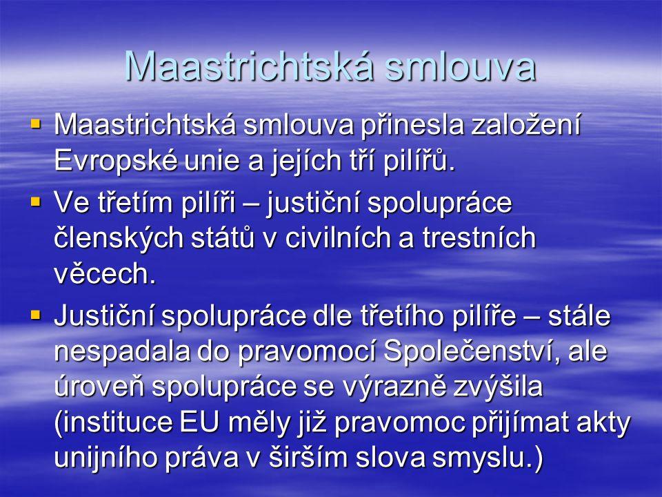 Maastrichtská smlouva  Maastrichtská smlouva přinesla založení Evropské unie a jejích tří pilířů.  Ve třetím pilíři – justiční spolupráce členských