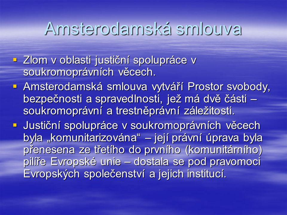 Právní úprava  Rámec pro justiční spolupráci v soukromoprávních věcech představuje čl.