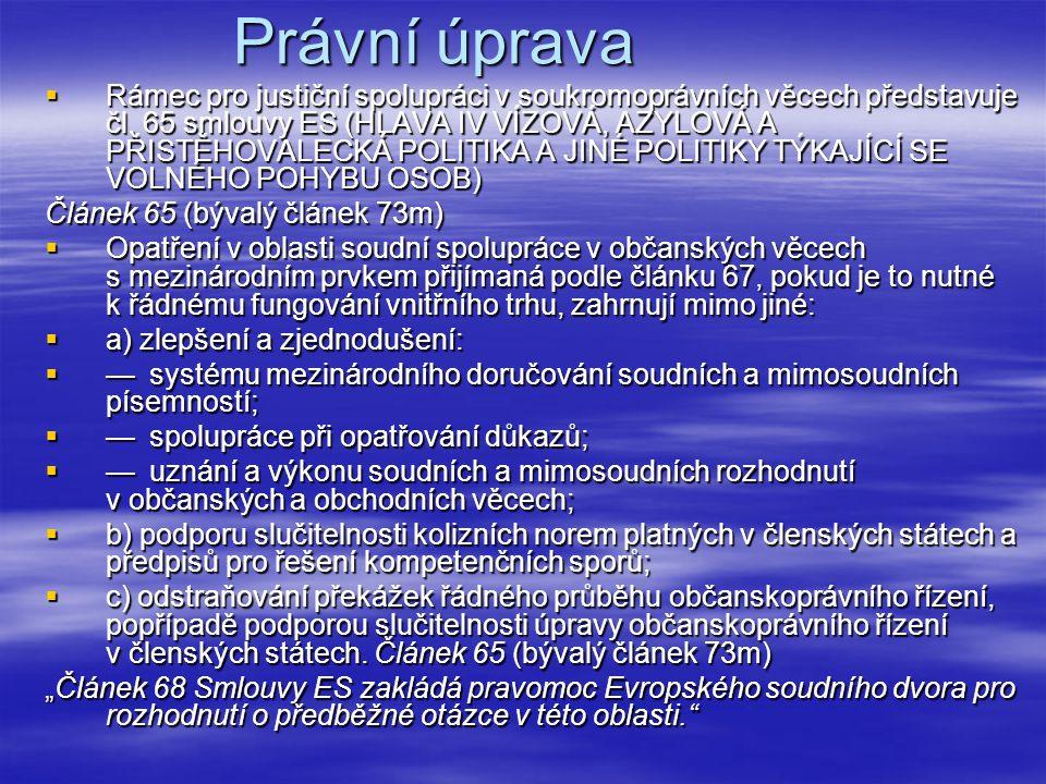 Právní úprava  Rámec pro justiční spolupráci v soukromoprávních věcech představuje čl. 65 smlouvy ES (HLAVA IV VÍZOVÁ, AZYLOVÁ A PŘISTĚHOVALECKÁ POLI