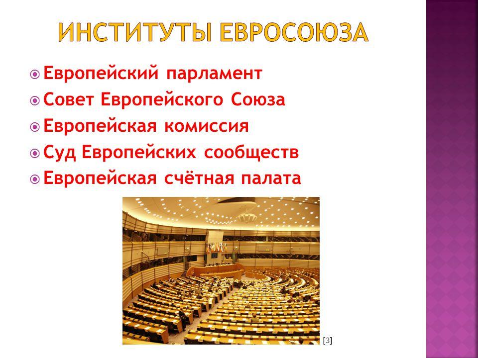  Европейский парламент  Совет Европейского Союза  Европейская комиссия  Суд Европейских сообществ  Европейская счётная палата [3]