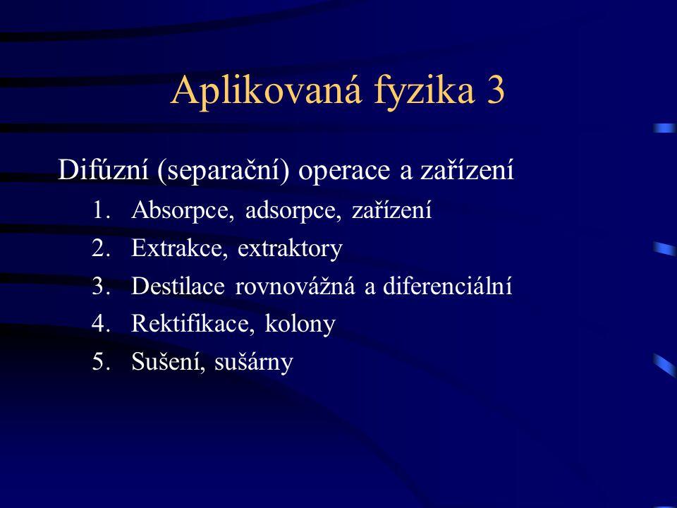 Aplikovaná fyzika 3 Difúzní (separační) operace a zařízení 1.Absorpce, adsorpce, zařízení 2.Extrakce, extraktory 3.Destilace rovnovážná a diferenciální 4.Rektifikace, kolony 5.Sušení, sušárny