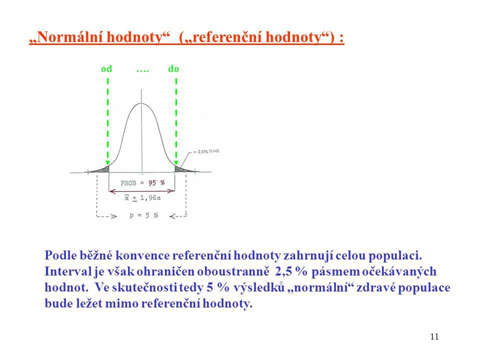 """11 """"Normální hodnoty (""""referenční hodnoty ) : Podle běžné konvence referenční hodnoty zahrnují celou populaci."""