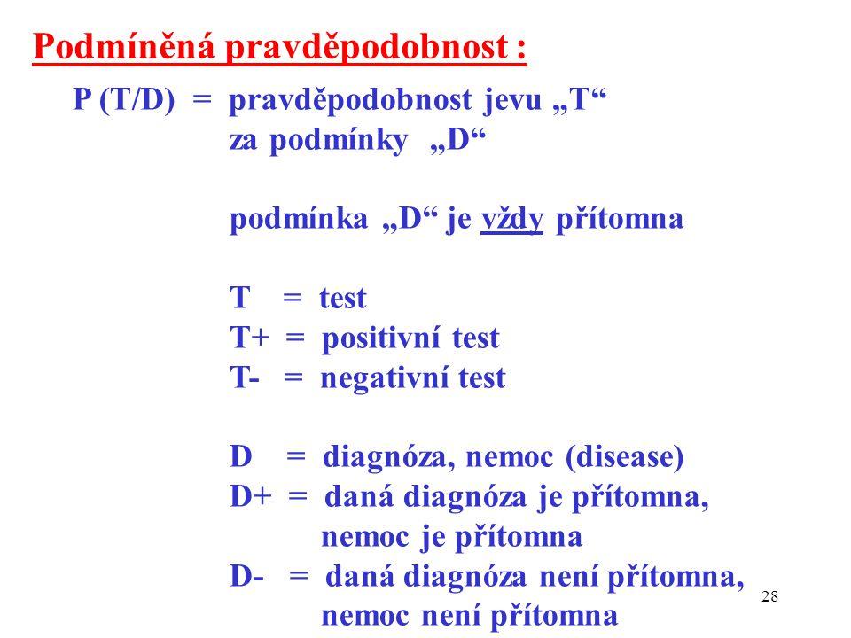 """28 Podmíněná pravděpodobnost : P (T/D) = pravděpodobnost jevu """"T za podmínky """"D podmínka """"D je vždy přítomna T = test T+ = positivní test T- = negativní test D = diagnóza, nemoc (disease) D+ = daná diagnóza je přítomna, nemoc je přítomna D- = daná diagnóza není přítomna, nemoc není přítomna"""