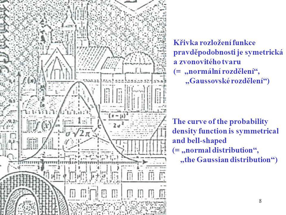 """8 The curve of the probability density function is symmetrical and bell-shaped (= """"normal distribution , """"the Gaussian distribution ) Křivka rozložení funkce pravděpodobnosti je symetrická a zvonovitého tvaru (= """"normální rozdělení , """"Gaussovské rozdělení )"""
