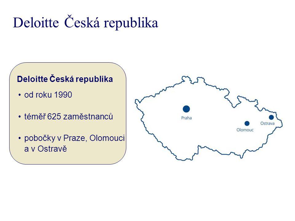 Deloitte Česká republika od roku 1990 téměř 625 zaměstnanců pobočky v Praze, Olomouci a v Ostravě Deloitte Česká republika