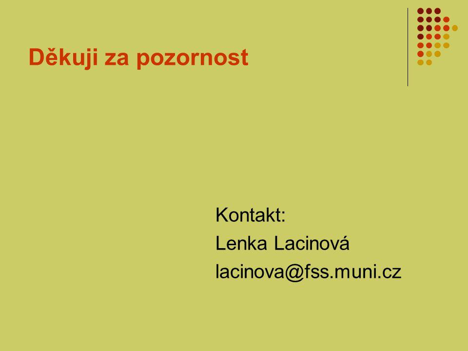 Děkuji za pozornost Kontakt: Lenka Lacinová lacinova@fss.muni.cz