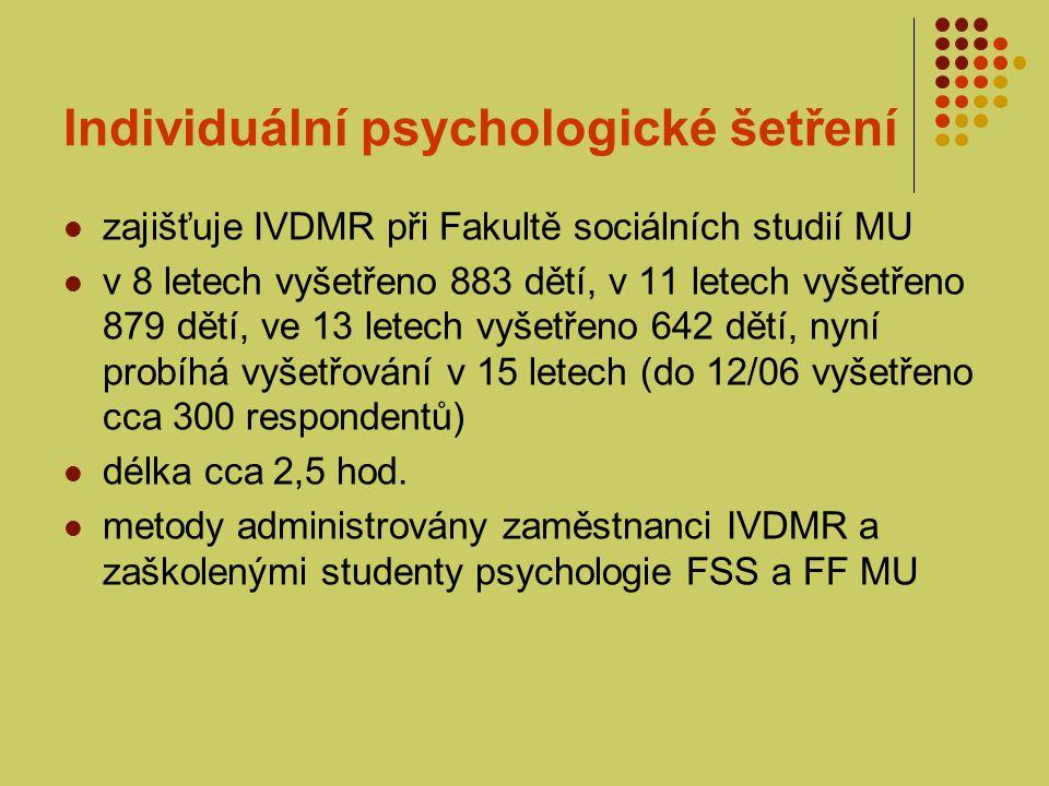 Individuální psychologické šetření 2-3 týdny po vyšetření zaslána rodičům zpráva od 13 let zasílán i dopis dítěti (adolescentovi) od 11 let je pořizován audiovizuální záznam vyšetření