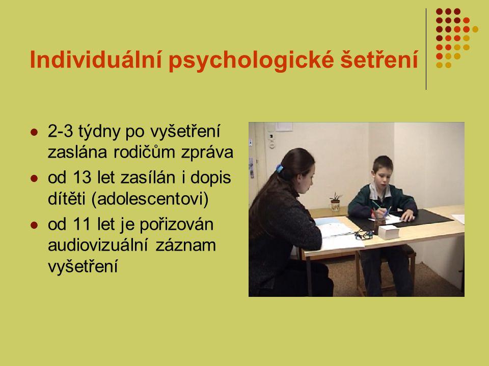 Individuální psychologické šetření Součástí všech vln vyšetření je: rozhovor s respondentem (koncipován nejen za účelem získání informací, ale také anxiolyticky) doprovázející rodič vyplňuje tzv.