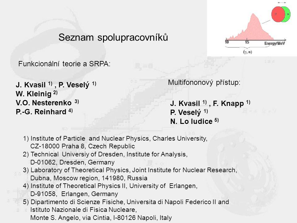Seznam spolupracovníků J. Kvasil 1), P. Veselý 1) W.