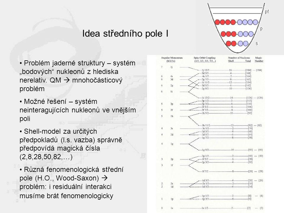 """Idea středního pole I Problém jaderné struktury – systém """"bodových nukleonů z hlediska nerelativ."""