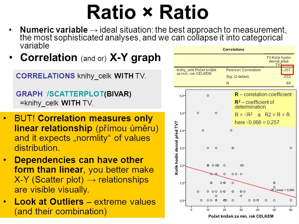 6 Ratio (depend.) × Categorical (independent) In principle we compare means of dependent variable in categories of independent variable + variance (standard deviation StD in groupings) missing values studium (5 6).