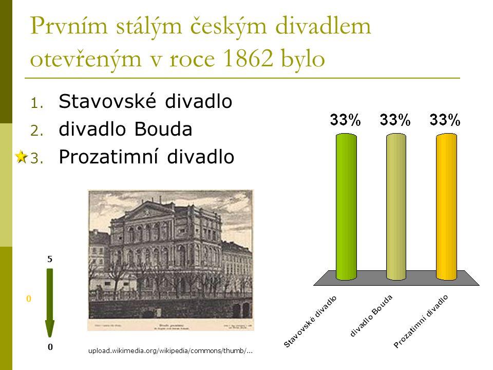 Prvním stálým českým divadlem otevřeným v roce 1862 bylo 0 0 5 1.