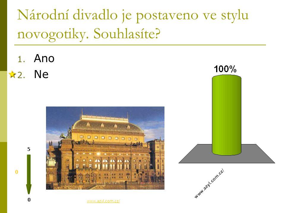 Národní divadlo je postaveno ve stylu novogotiky. Souhlasíte? 1. Ano 2. Ne 0 0 5 www.azyl.com.cz/