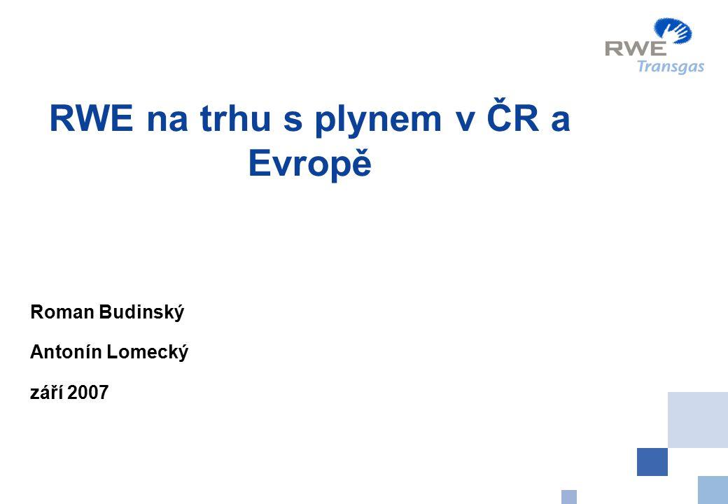 RWE na trhu s plynem v ČR a Evropě Roman Budinský Antonín Lomecký září 2007