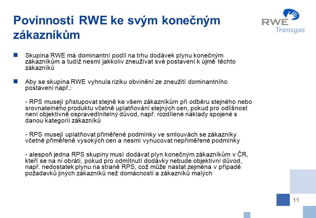11 Povinnosti RWE ke svým konečným zákazníkům Skupina RWE má dominantní podíl na trhu dodávek plynu konečným zákazníkům a tudíž nesmí jakkoliv zneužív