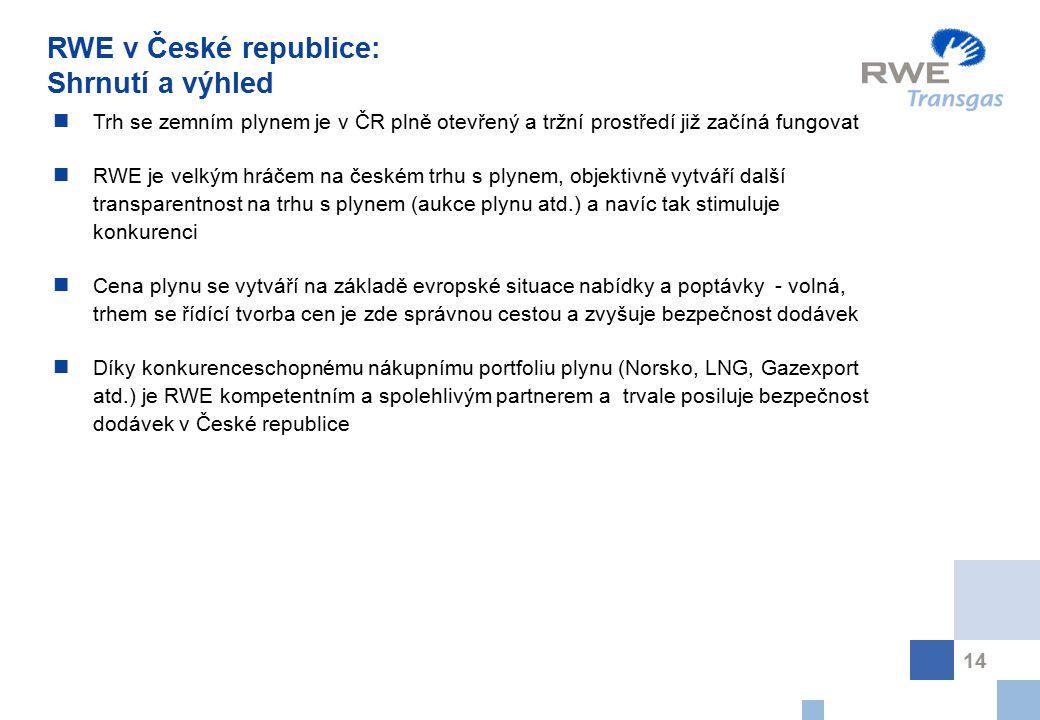14 Trh se zemním plynem je v ČR plně otevřený a tržní prostředí již začíná fungovat RWE je velkým hráčem na českém trhu s plynem, objektivně vytváří d