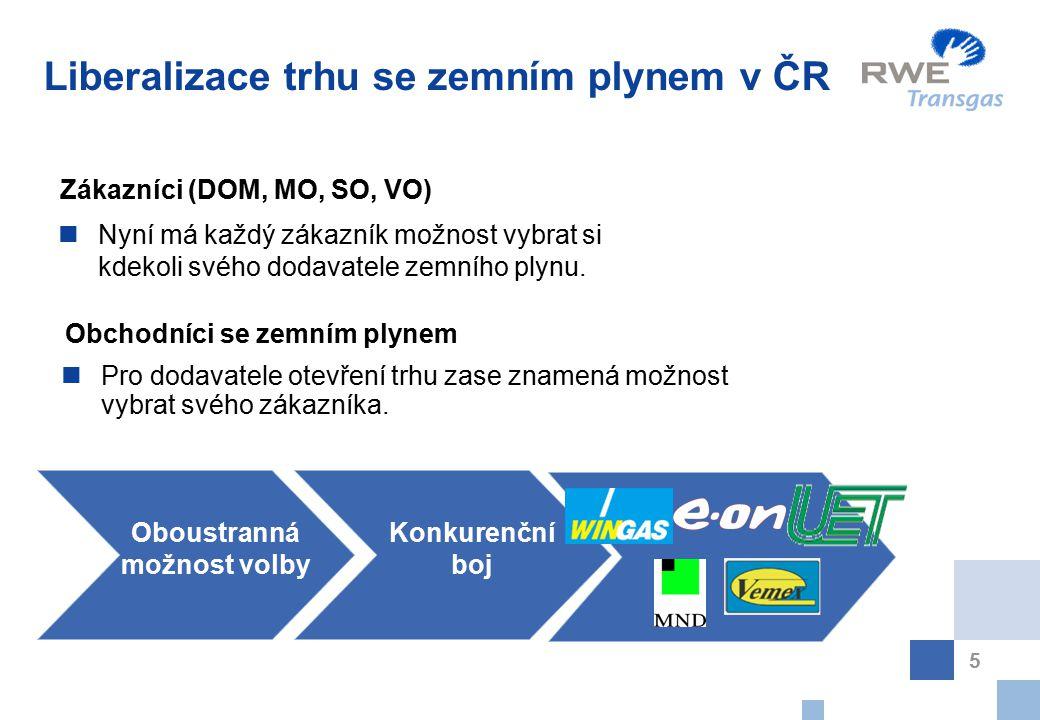 5 Liberalizace trhu se zemním plynem v ČR Nyní má každý zákazník možnost vybrat si kdekoli svého dodavatele zemního plynu. Zákazníci (DOM, MO, SO, VO)