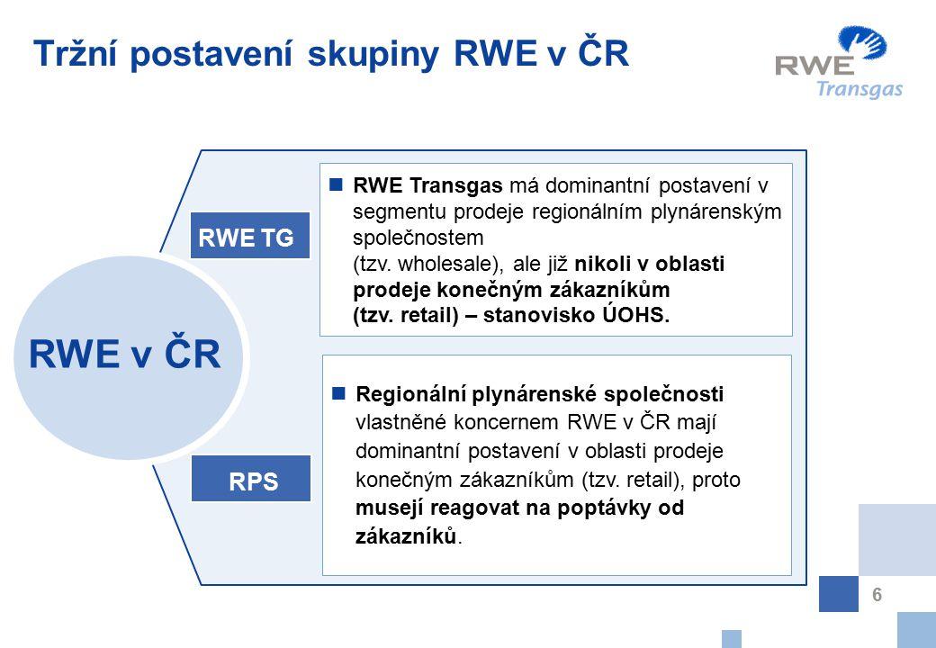 6 Tržní postavení skupiny RWE v ČR RWE v ČR RWE TG Regionální plynárenské společnosti vlastněné koncernem RWE v ČR mají dominantní postavení v oblasti