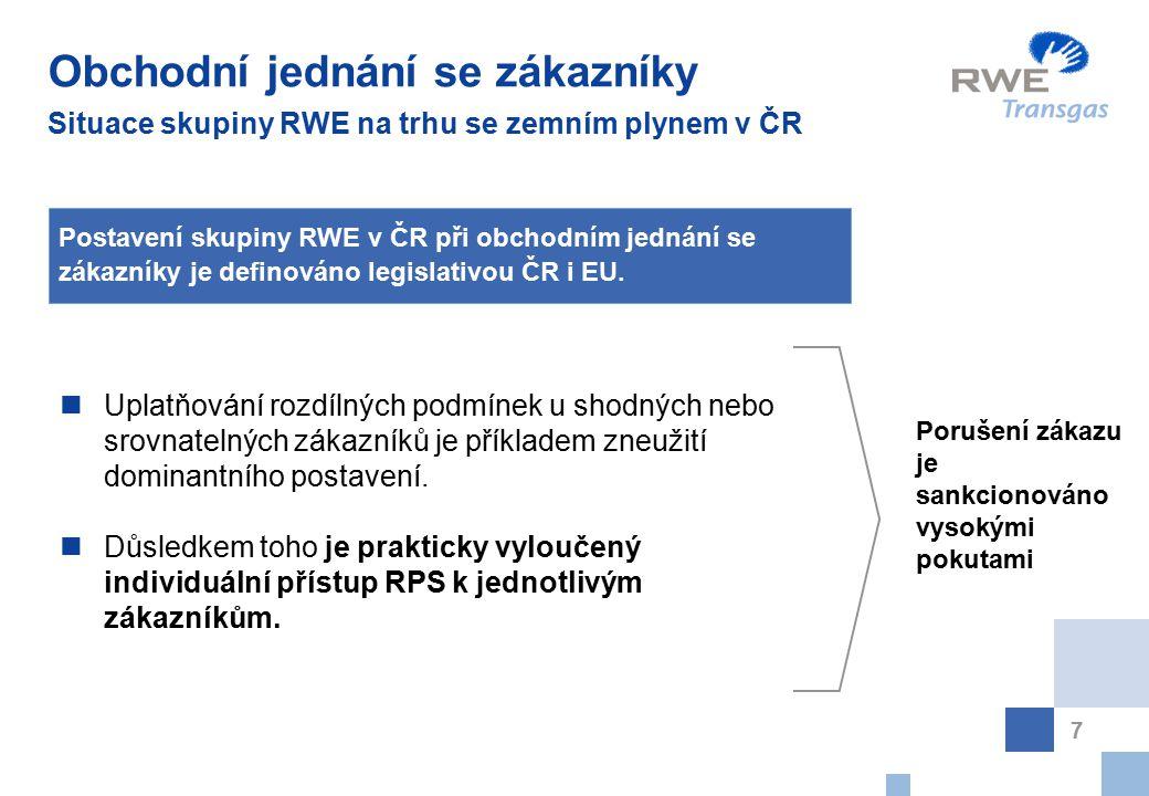 7 Obchodní jednání se zákazníky Situace skupiny RWE na trhu se zemním plynem v ČR Uplatňování rozdílných podmínek u shodných nebo srovnatelných zákazn